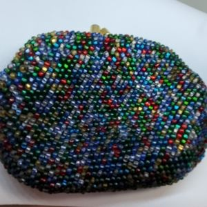 Vintage 50s hand beaded key chain coin purse